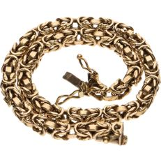 14 kt yellow gold king's braid link bracelet with safety clasps - Length: 21.5 cm