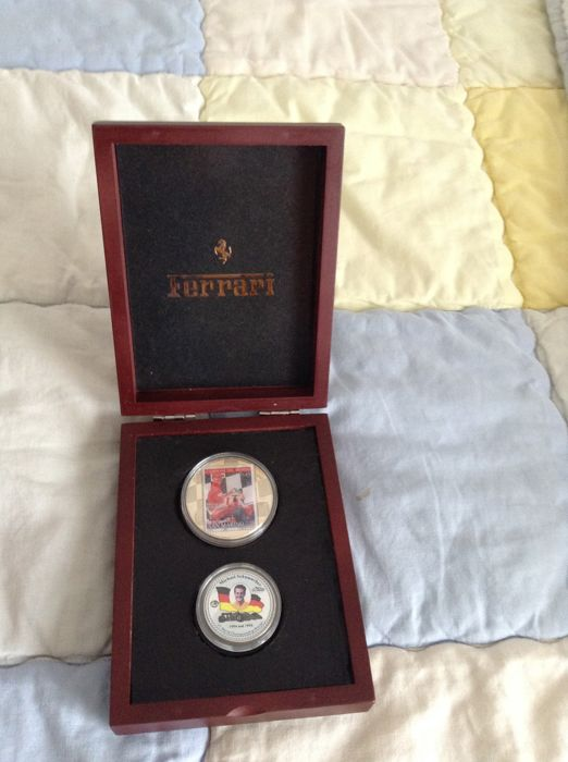 Lot of 2 Ferrari coin medals with Michael Schumacher box set