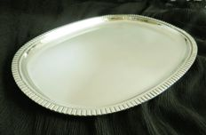 Silver serving tray/caberet with ribbed edge, Wilkens &Söhne, Germany, ca. 1950-1960
