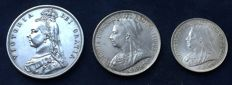 United Kingdom – ½ Crown 1887, Florin 1894 and Shilling 1897 Victoria (3 pieces) – silver