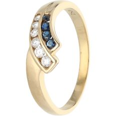 18k - Yellow gold ring set with sapphire and 6 brilliant cut diamonds totalling approx. 0.07 ct - RIng size: 17.25 mm