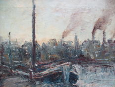Dutch School  (20th century) - Impressionistisch industriel havenzicht