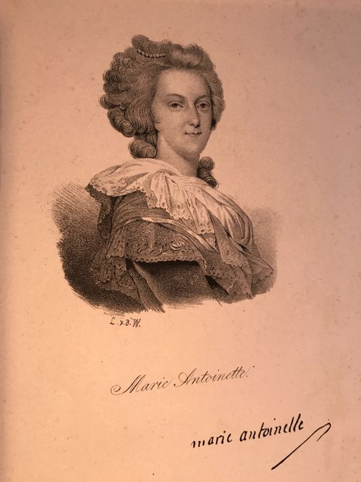 Marie Antoinette Reine de France épouse de Louis XVI  - 7 engravings of the time by different artists - no date