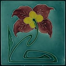 Georg Schmider - Art Nouveau tile with floral decoration