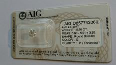 0.90 carat G I1 Round Brilliant Natural Diamond