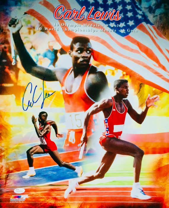 Carl Lewis - Amazing Authentic & Signed Autograph in Professional Big Poster ( 40x50cm ) - with Certificate of Authenticity JSA