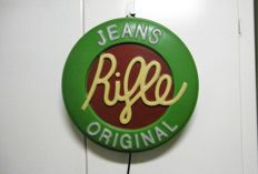 Light box advertising Riffle Jeans Original - 2nd half 20th century - diameter 43 cm