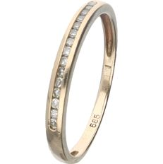 14 kt Yellow gold ring set with 15 single cut diamonds of 0.075 ct in total - Ring size: 16.5 mm