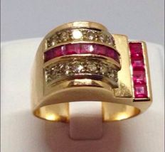 Tank ring in 18 kt gold, with rubies and diamonds, low reserve price, antique jewellery item