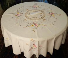 Round tablecloth, hand made embroidery of cross stitch, crochet and hemstitch - 165 cm in diameter