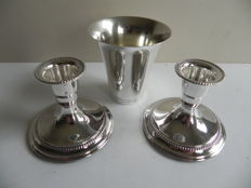 Set of silver candle stands and cup, E.T.J. and TESI, Sweden, 1949