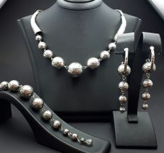 925 Silver  Ball Necklace &Bracelet & Earring Set, New (Unused ) Total weight 72.32g