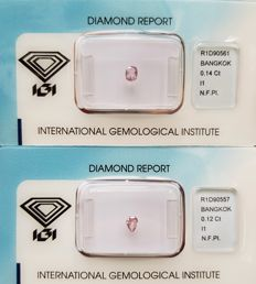 Two Natural Diamonds - 0.26 ct - Natural Fancy Pink  ** I1 ** No Reserve Price **