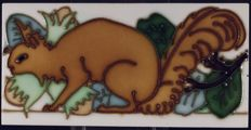Gilliot & Cie Hemiksem - Art Nouveau tile with squirrel in relief