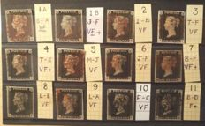 Great Britain Queen Victoria - 1840 Penny Blacks Set Of Plates 1a to 11