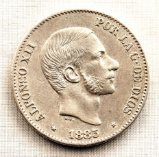 Spain - Alfonso XII - 50 Centavos of a peso in silver - 1885 - Manila