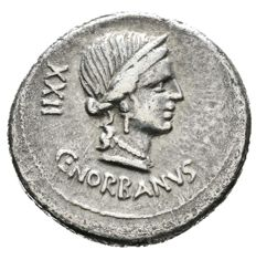 Roman Republic - C. Norbanus. 83 BC. AR Denarius (19,57 mm, 3.84 gr). Rome mint. Fasces between grain ear and caduceus