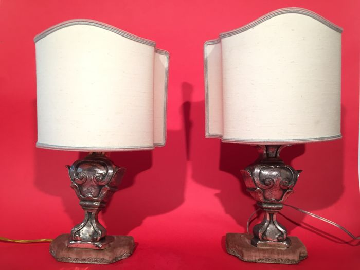 An elegant pair of Sheffield silver plated table lamps - Italy, early 20th century