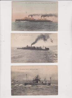 Very good batch of 50 old postcards on battleships, torpedoes, underwater vessels