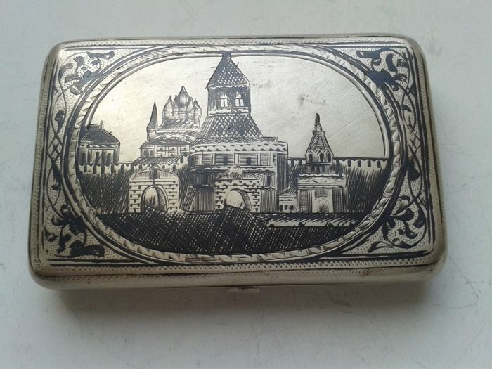 Imperial Russia, silver cigarette case, performer DP, Russia, Moscow, 1896-1908