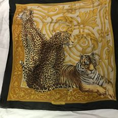 Salvatore Ferragamo - Black and yellow scarf with three leopards