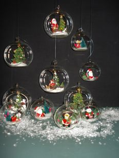 Vintage Christmas baubles with Christmas figures - Glass