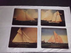 M.R. Wiscombe Placemats 4 pcs with Depiction of Old Sailing Ships - Vintage