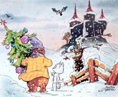 Tom Puss and Oliver B. Bumble - 5 Christmas cards - Concordia - 1986, 1987, 1988, 1989, 1990 and MTVC Christmas card (1996)