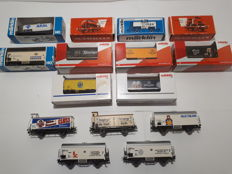 Marklin H0 - 4414/15/40/193/195/205/209/4500/11/68/4675/4780/81 - 15x different refrigerated and boiler wagons of the DB