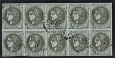 France 1870 - 1c olive in block of 10 - Yvert n 39B