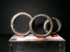 Celts - 3 Bronze Proto Money Rings  - Galia Belgica - 600 - 400 BC.
