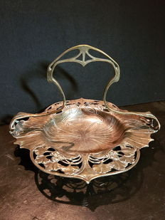Art Nouveau presentation dish of silver-plated tin