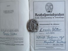 Reich sports badge, DRL & certificate book