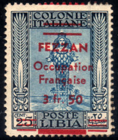 Fezzan 1943 - French Occupation, 3.50 on 25 cents Non-catalogued variations