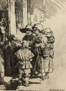 REMBRANDT VAN RIJN (1606-1669) - Beggars at the door - probably 18th century or later