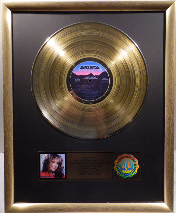 carly simon coming around again real us riaa gold award goldene schallplatte original. Black Bedroom Furniture Sets. Home Design Ideas