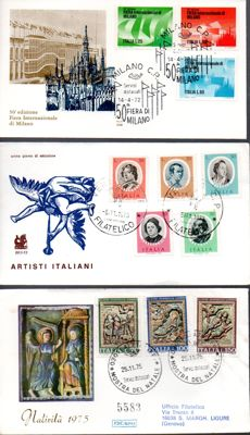 "Italy, Republic, 1961/1984 – Collection of 237 FDC envelopes, including Gold series – ""Roma"" (Rome) – ""Bucintoro"" (Bucentaur) – ""Venetia"" (Venetia)"