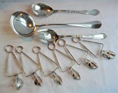 Wiskemann - Christofle ladle uniplat silver plated salad servers, snail tongs.