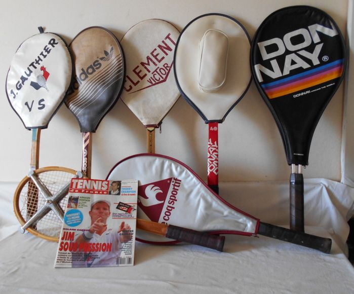 Tennis - France England Belgium - 7 old tennis rackets from the 1970s + magazine from 1992