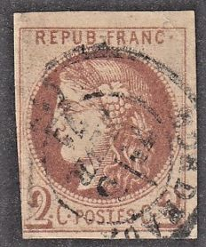 France 1870 – 2c Fine Chocolate Printing of Signed Tourts and Certified Calves.