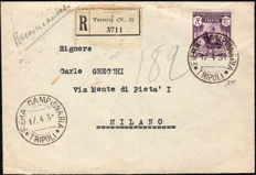 Libya 1931- 5th Tripoli Expo, 5 lire on registered mail to Milan - Sass. No. 102