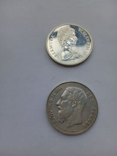 Bermuda and Belgium - Lot of two coins, 1 Dollar and 5 Francs