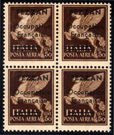 Fezzan 1943 - French occupation, 30 cent. Brown, airmail, overprinted, block of 4 - Sassone No.  A1