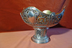 Openwork silver bowl with insert - Empire style - Germany ca. 1880
