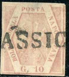 Naples, 1858 – 1 grana, light pink, pair on fragment and 10 grana, light carmine pink – Sass. No. 3 and 11a.