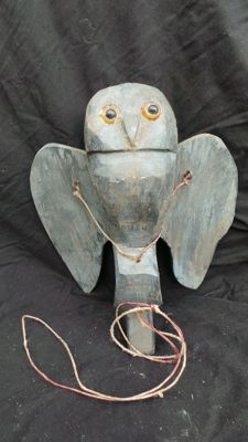 Antique decoy owl for hunting. Has glass eyes. Stone-owl Athene Noctua, marked B.M. Stone owl