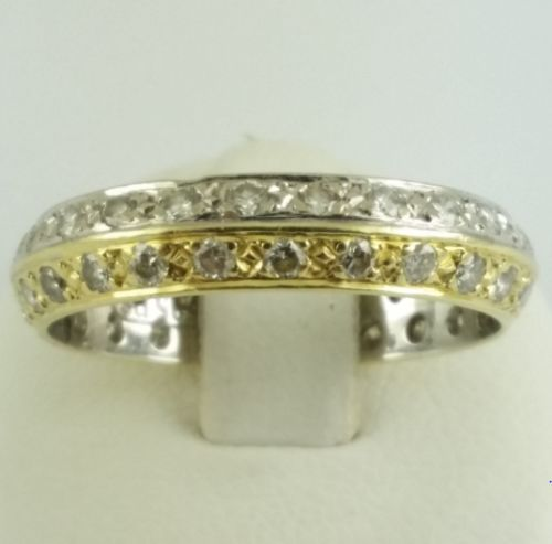 Memory ring - 585 yellow gold + white gold - 48 small Brilliants - diamond - ring size: 53
