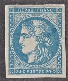 France 1870 - 20 c blue, mint with hinge, signed Calves with certificate - Yvert No 45C.