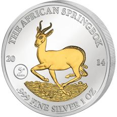 Gabon - 1000 Francs  2014 The African Springbok silver gold plated 1 Oz