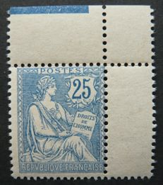 France 1902 - 25 cents blue Mouchon Signed Calves with Sheet Corner - Yvert no. 127